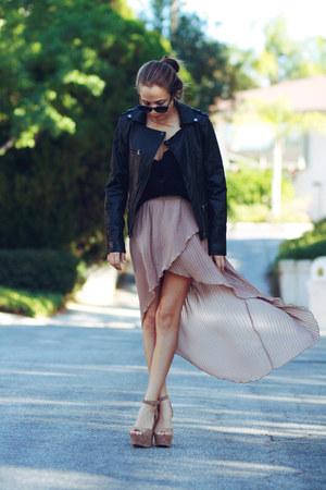 beige platforms Steve Madden heels - black button up H&M top
