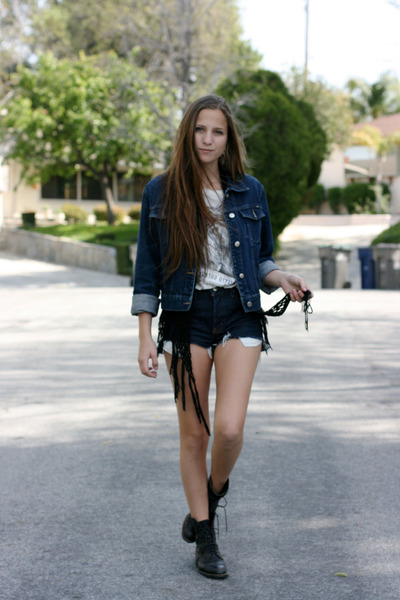 navy denim jacket jacket - white lion romwe shirt - navy denim DIY shorts