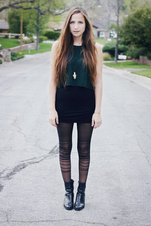 black thrifted boots - forest green vest thrifted sweater - black romwe tights