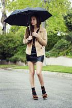 black silk wholesale-dressnet dress - camel Forever 21 coat - brown leopard prin