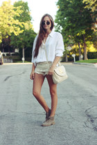 off white suede Dolce Vita shoes - ivory crochet shorts Chicwish shorts - white