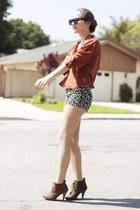 light brown lace up Steve Madden boots - camel leopard print Forever 21 shorts -