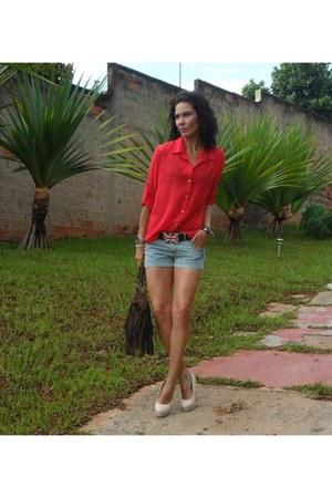 dark brown Renner bag - blue Renner shorts - ivory Charlotte Russe pumps