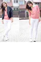 white pull&bear pants - bubble gum Bershka sweater