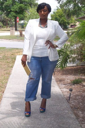 colorblock Target heels - boyfriend Goodwill jeans