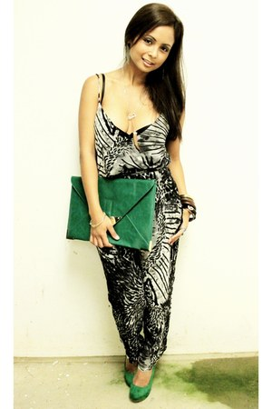clutch asos bag - animal print H&M romper - Qupid heels - lulus necklace - brace