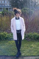 bubble gum coat - pink Topshop coat - black polka dots Topshop blouse