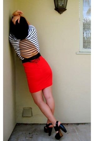 black Marni shoes - white striped diy shirt - red vintage Wasteland skirt