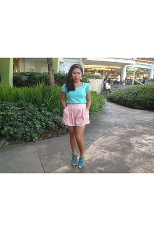aquamarine Payless shoes - salmon mint shorts - aquamarine Topshop blouse