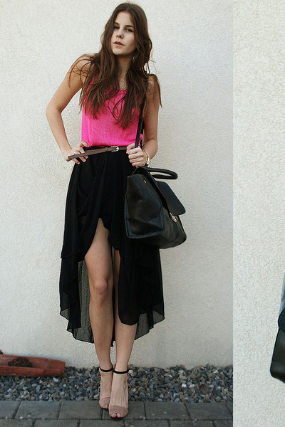 hot pink shirt - black bag - black asymmetric skirt