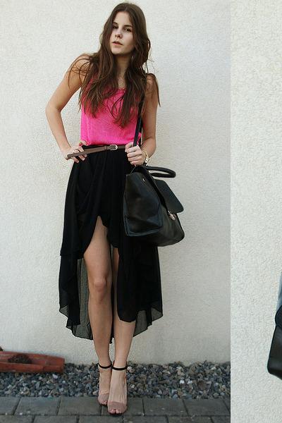 hot pink shirt - black bag - black asymmetric skirt