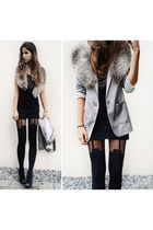black shirt - black tights - black shoes - gray blazer
