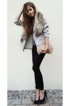 black jeans - silver blazer - pink - black shoes - silver shirt