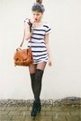 Striped-shirt-satchel-bag-overknee-socks