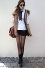 Black-tights-black-shoes-black-socks-brown-bag-brown-vest-white-blouse