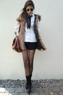 white blouse - black shoes - black tights - brown bag - black socks