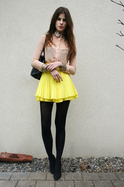 light pink sequin shirt - yellow skirt