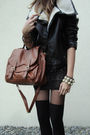 Black-shirt-black-shoes-brown-bag-black-jacket
