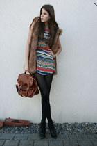 faux fur vest - cut out dress - brown bag