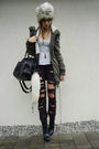 Black-diy-jeans-black-boots-green-jacket-black-bag-white-shirt-gray-ha