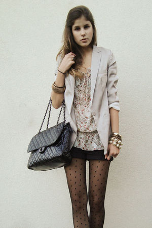 black tights - black shorts - silver blazer - white bag - blouse