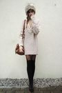 Black-socks-black-tights-black-shoes-sweater-brown-bag-gray-hat