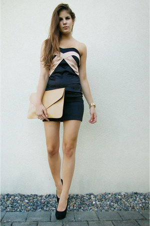 bag - black satin dress - Michael Kors watch