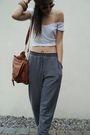 Silver-pants-black-shoes-brown-bag-white-shirt