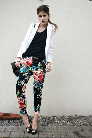 floral pants - black studded heels