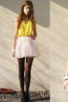light pink skirt - yellow shirt