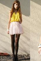 light pink skirt - yellow shirt