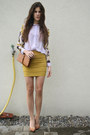 Periwinkle-floral-shirt-mustard-skirt