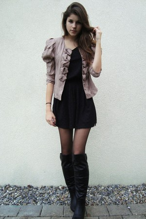 pink jacket - black boots - black dress - black tights