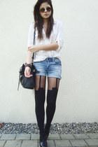 ivory shirt - black bag