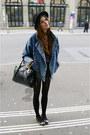 Black-bunny-flats-blue-jeans-jacket-romper