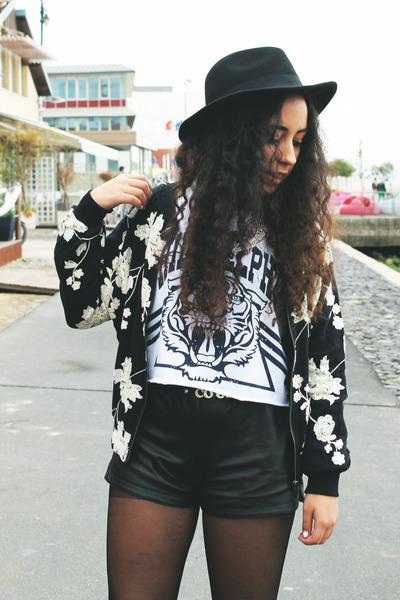 black flowered jacket BangGood jacket - black sammydress shorts