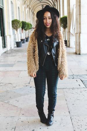 black romwe jacket - camel shaggy coat romwe coat - black yin -yang top H&M top