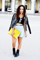 leather jacket romwe jacket - gold clutch DIY bag - aupie skirt - aupie glasses
