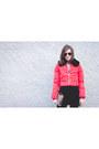 Red-tartan-missguided-dress-red-puffa-topshop-coat