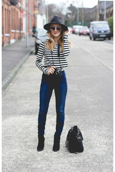 black H&M skirt - black heeled Zara boots - fedora Missguided hat