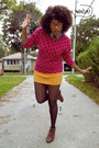 Dark-brown-thrifted-vintage-boots-hot-pink-polka-dots-thrifted-vintage-sweater