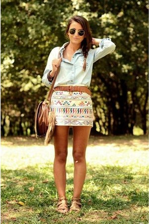 heather gray denim Zara shirt - brown bag - brown belt - aztec print H&M skirt