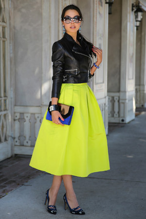yellow skirt - black leather jacket