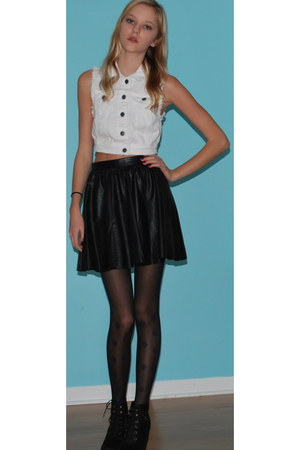 leather H&M skirt - denim Forever 21 vest