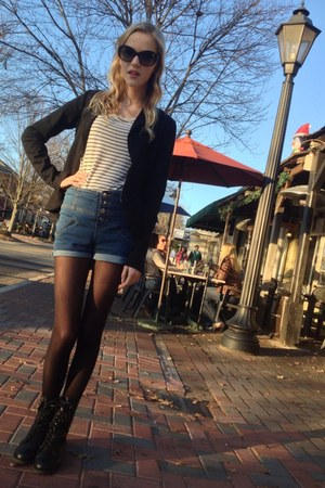 striped Forever 21 shirt - combat boots Target boots - black Converse jacket