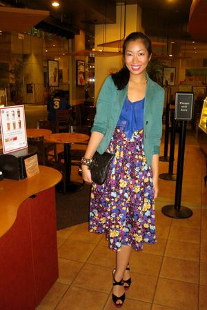 green Esprit blazer - blue glasnost top - H&M skirt - black Jimmy Choo shoes - b