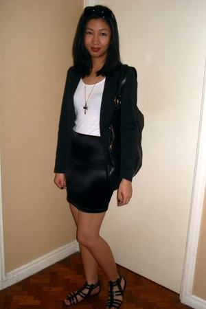 Topshop blazer - Wet Seal - glasnost skirt - H&M - cru necklace - Yves Saint Lau