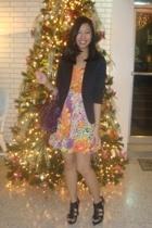 black Topshop blazer - floral H&M dress - purple city bag balenciaga - Zara