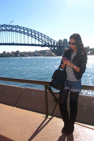 black Mango jacket - black H&M top - blue H&M shorts - black random from Austral