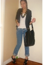 Topshop blazer - abercrombie and fitch top - True Religion jeans - Nine West sho